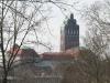 Blick von der Rosenhöhe auf den Hochzeitsturm auf der Mathildenhöhe, Darmstadt